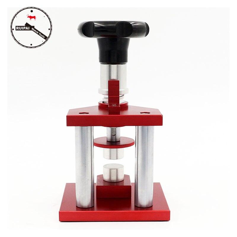 Nueva versión Heavy Duty tornillo tipo reloj caja prensa herramientas precisión reloj prensa para relojero reparación