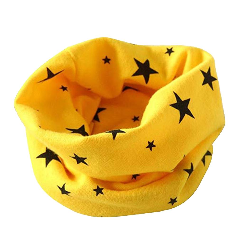 Yellow Spring Knitting Scarf Star Pattern Collar Children Cotton Baby Warm Windproof Hat Baby Scarf Children Scarf Neck Warmer