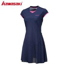 Kawasaki Brand Ladies Sport Tennis Dress for Women Girls Quick Dry Breathable Solid Teniss Dresses Sportswear Blue Red SK-172701