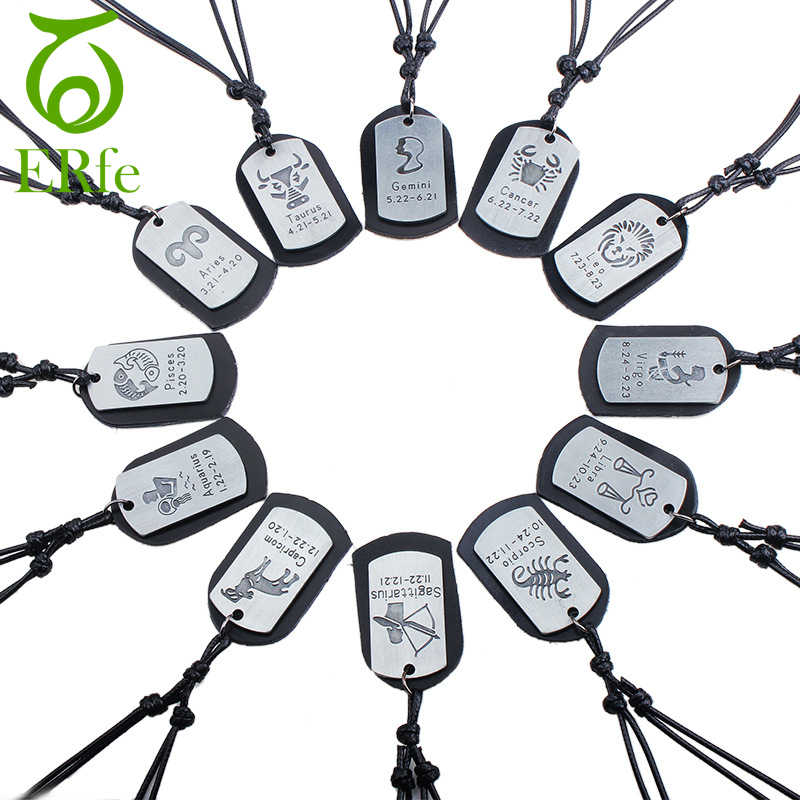 Men Leo Virgo Cancer Taurus Gemini Scorpio Libra Necklace 12 Zodiac Necklace Twelve Constellations Male Leather Jewelry LN002