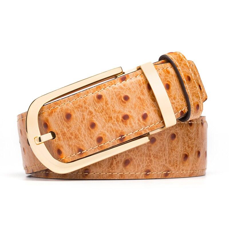 Cinturón de cuero genuino hombres patrón de avestruz piel de vaca cinturones masculinos para hombres cinturón dorado diseñador de alta calidad marca de lujo - 4