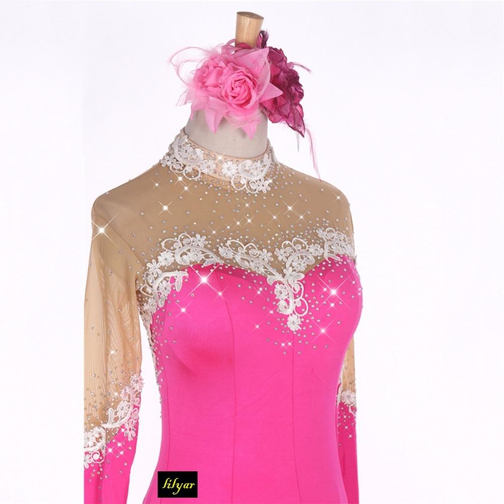 Niza moderno baile vestidos para damas Rhinestone Rose del Color ...