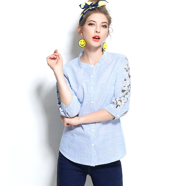 4470e80c7 Topgirls Women Plus Size 5XL Blue Striped Shirts 2017 Summer Half Sleeve  Casual Blouses Linen Embroidery Blouse Lady Loose Tops
