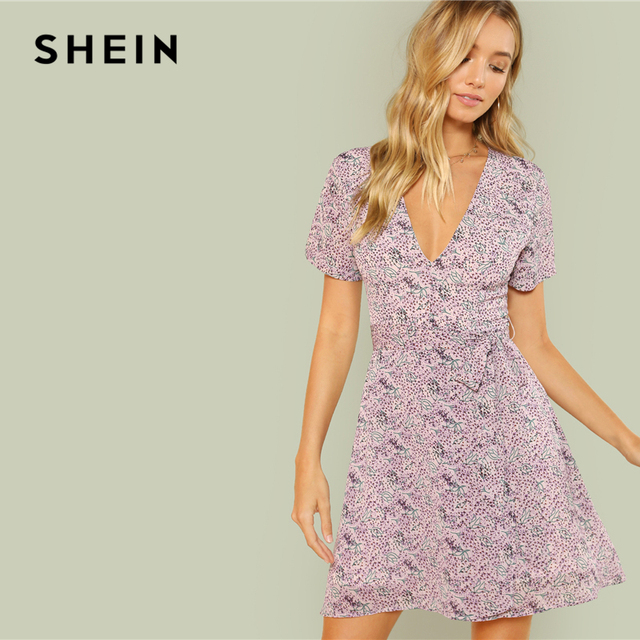 0748fd3f30f7e5 SHEIN Multicolor Boho Beach Bohemian Plunging Neck Knotted Flare Short  Sleeve Self Belted Summer Women Dress Going Out Dresses