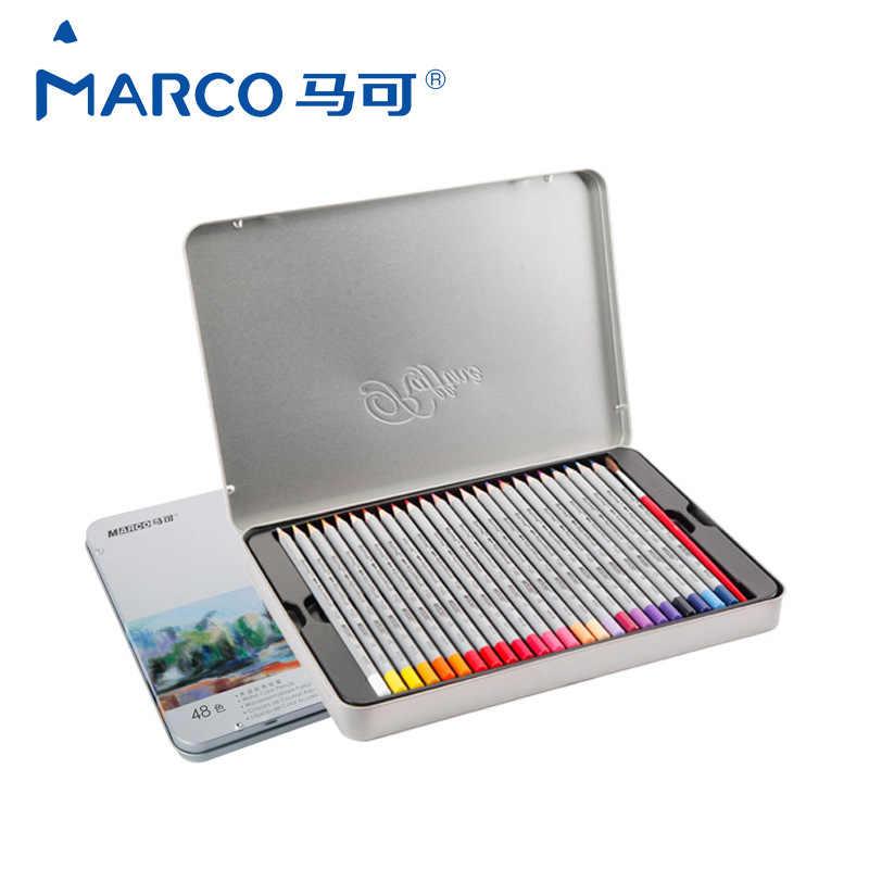 Juego De lápices De Colores MARCO 7120, caja De hierro, lápices De acuarela, pluma coloreada De dibujo, pintura para estudiantes, lápices De Colores
