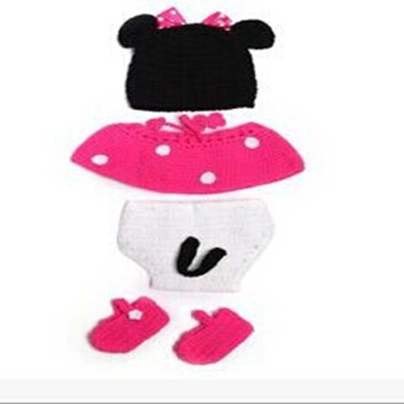 Handmade Crochet Baby Photography Props 4pcs Knitting Minnie Newborn Girl Cap + PP Pants + Shoes Set Conjunto Bebe Baby Clothes