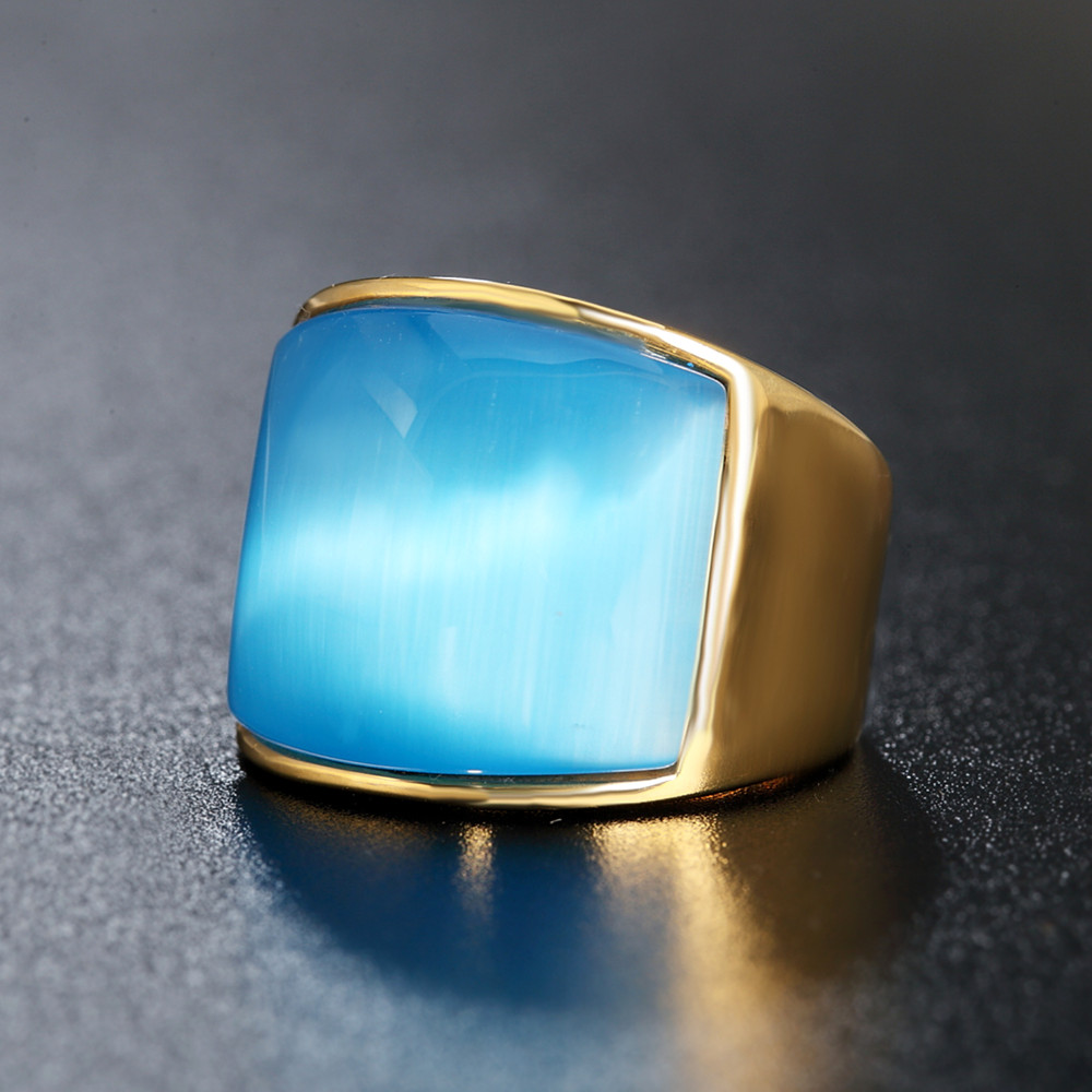 FIVETWOO 316L Stailess Steel Vintage Opals Rings For Men In Gold-Color Plated FWR65