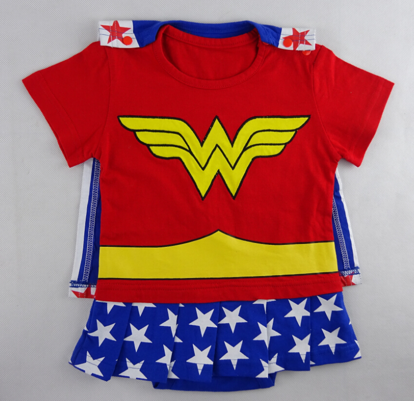 Baby Girls Wonder Woman Romper With Cloak Infant Superman -5383