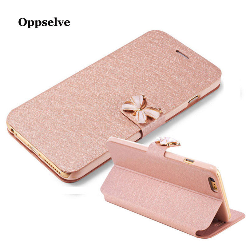Oppselve Leather Flip Phone Case For iPhone 8 7 6 6s Plus Diamon Card Holder Wallet Bags Corium Shell Bags For iPhone 8Plus Capa in Flip Cases from Cellphones Telecommunications