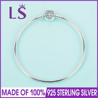 LS Real 100 925 Sterling Silver Limited Edition Silver Bangle Fit Original Beads Charm Women Fine