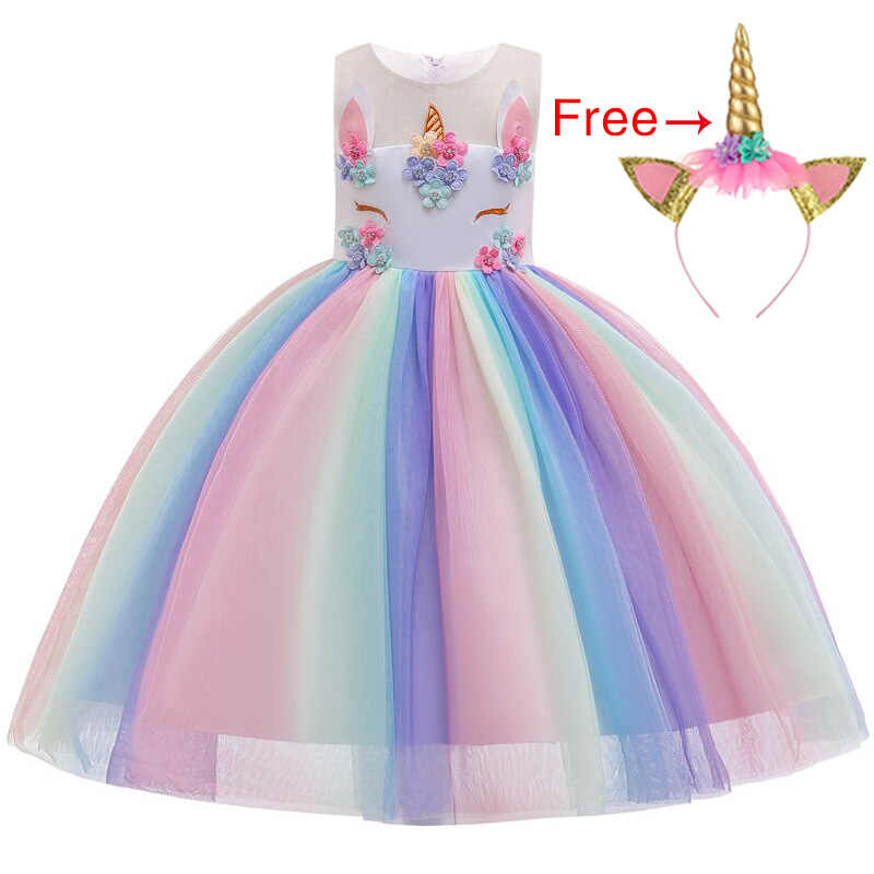 2019 Girls clothes 2Pcs Kids Dresses For Girls Unicorn Party Dress rainbow Toddler Cosplay Princess Dresses 2 3 4 5 6 7 8 9 10Y