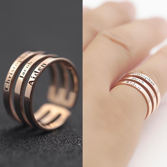 ac957e68c Customized 3 layer Name Ring for Men Solid Silver Stamp Three Names Ring  Personalized Silver Fashion Name Jewelry Rings
