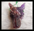 fine jewelry hot sell animal wolf head amethyst beautiful pendant 36*24*11mm,8.4g,carved wolf head semiprecious stone necklace