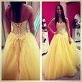 Brillante Amarillo Largo Vestidos de Baile 2016 Ata Para Arriba Detrás de Novia de Escote Princesa Puffy Vestidos de Quinceañera Vestido Longo Amarelo