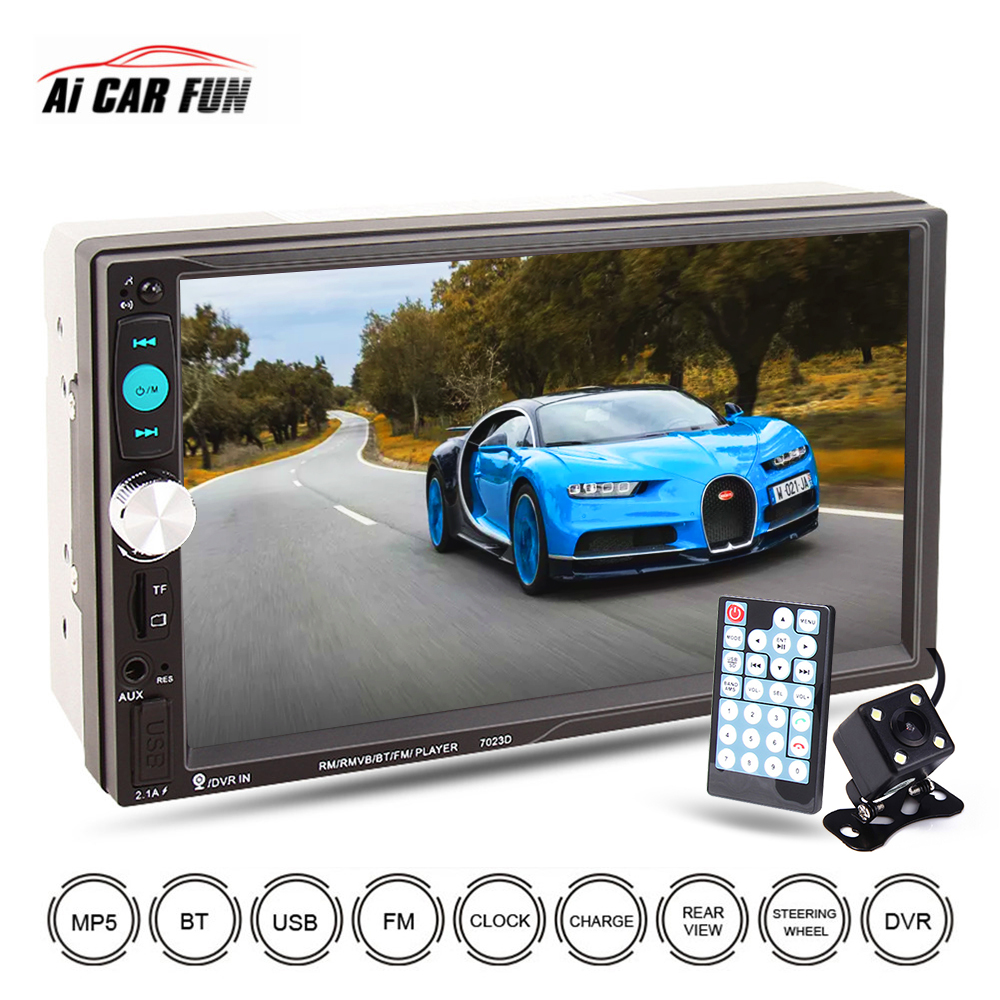 2Din 7inch <font><b>7023D</b></font> Car Multimedia Center MP4 MP5 Video Player With Bluetooth Function Auto Touch Screen FM Car Radio Player image