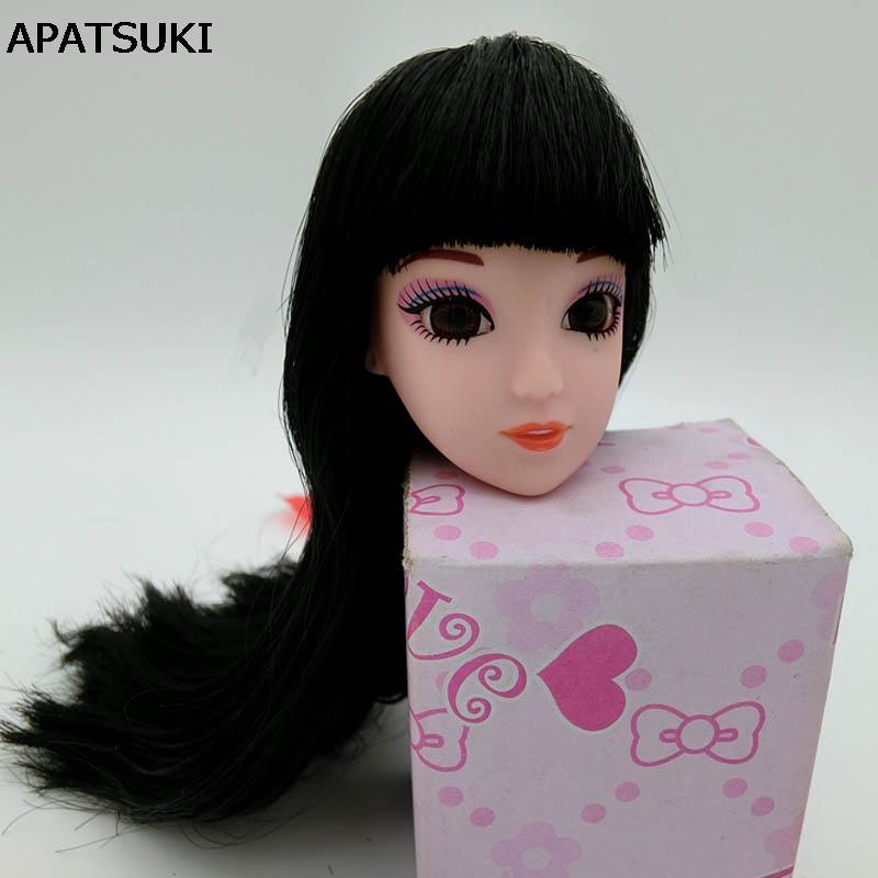 Black Long Hair Doll Head 3D Real Eye Heads For Barbie Doll DIY Accessories For 1/6 BJD Doll House Doll Accessory