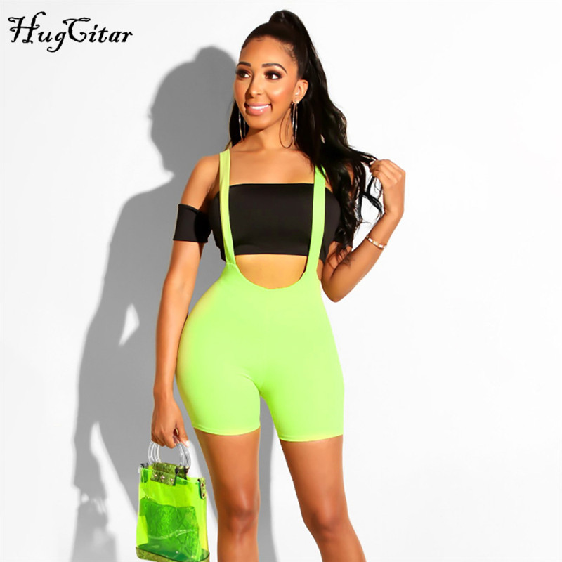 Hugcitar neon green stretchy overalls biker   shorts   2019 summer women fashion sexy streetwear party solid female biker   shorts