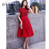 Es der YiiYa Prom Kleid Rot Pailletten Knien-Länge Kleider Kurzen Ärmeln Zip Frauen Party Nacht Vestidos de Gala plus Größe 2019 E455