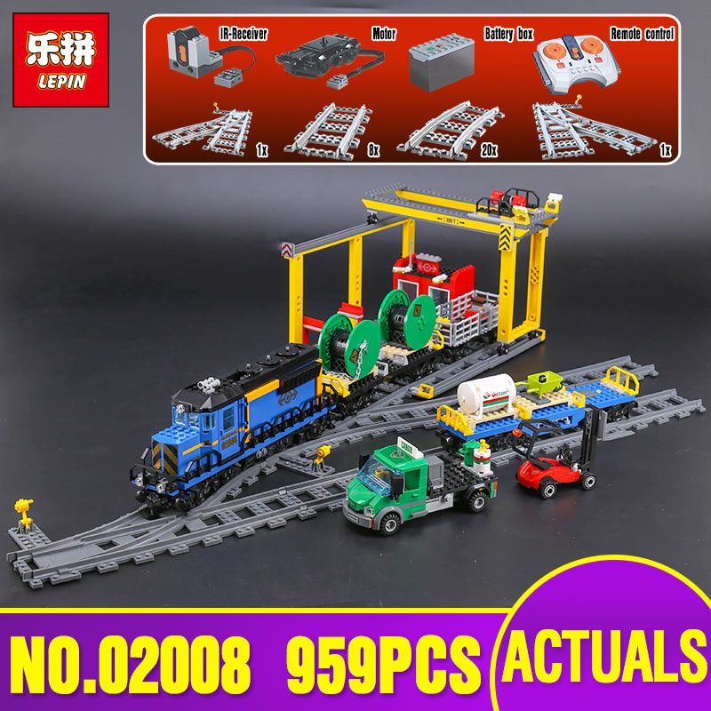 Lepin 02008 Genuine City Series The Cargo Train Set legoing 60052 Building Blocks Bricks Toys As Children Christmas Gifts lepin 02008 the cargo train 959pcs city series legoingly 60052 plate sets building nano blocks bricks toys for boy gift
