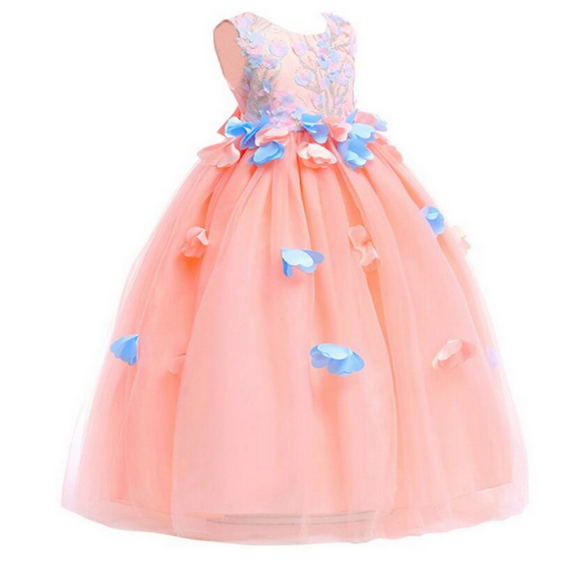 Tonlinker 2018 New Girls Prom Party Princess Dress Elegant Girl Flower Long Dresses Children 39 s day Wedding Birthday Clothes in Girls Costumes from Novelty amp Special Use