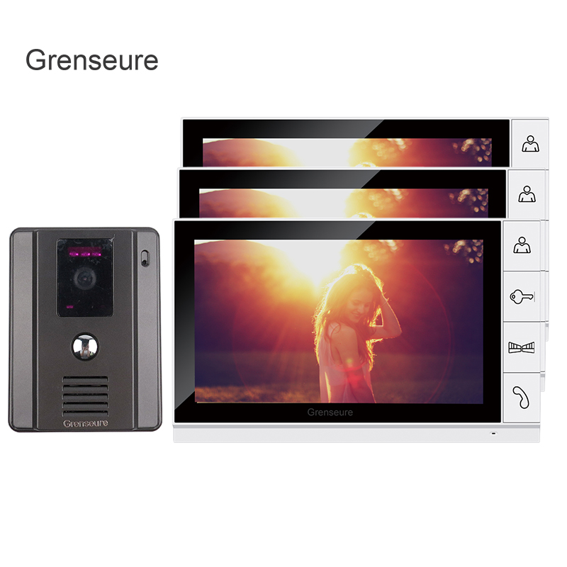 FREE SHIPPING New 9 Color TFT Screen Video Door Phone Intercom System + 1 Night Vision Door bell Camera + 3 Monitors IN STOCK free shipping new handheld 4 3 inch color tft video door phone doorbell intercom night vision door bell camera 3 screen in stock