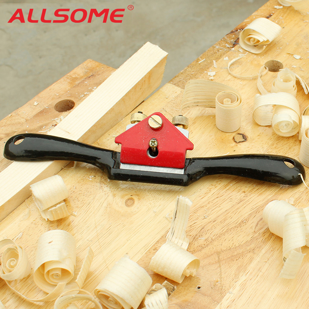 ALLSOME 9 Inch Adjustable Woodcraft Metal Blade Spoke Shave Plane Manual Wood Working Hand Tool Saw Blade Gray Iron Manganese +