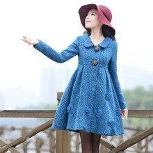 Original 2016 Autumn and Winter Fashion Medium-Long Long Sleeve Women's Jacket Coat Single Breasted Woolen Outwear Overcoat