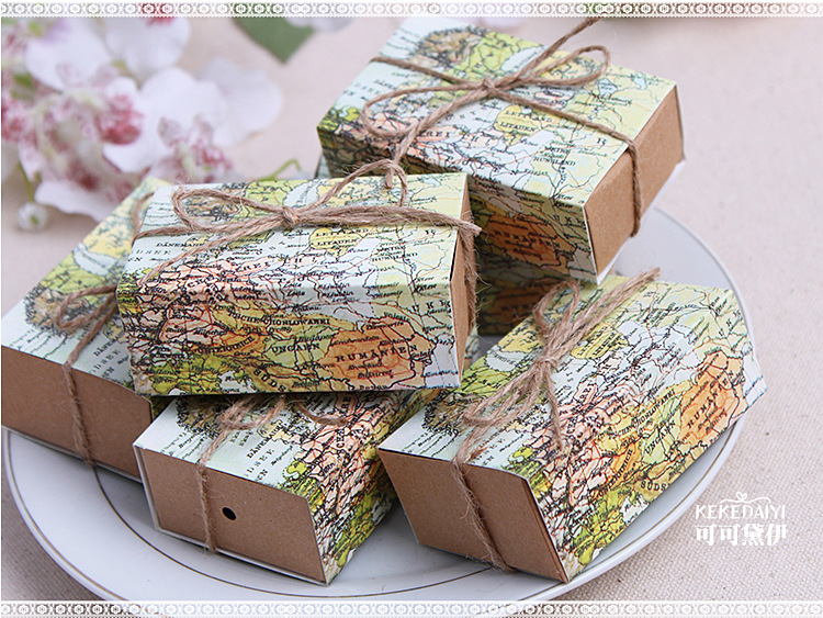 wholesale 1000pcs/lot Wedding Sweet Box-- Around the World Map Favor Box for traveling theme party baby show candy gift box