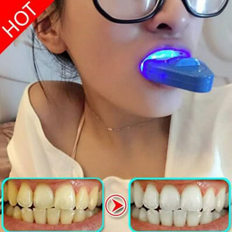 2 Sets Blue Light Teeth Whitening Device Teeth Bleaching Gel Dental Care LED Teeth Whitener Beauty Tools