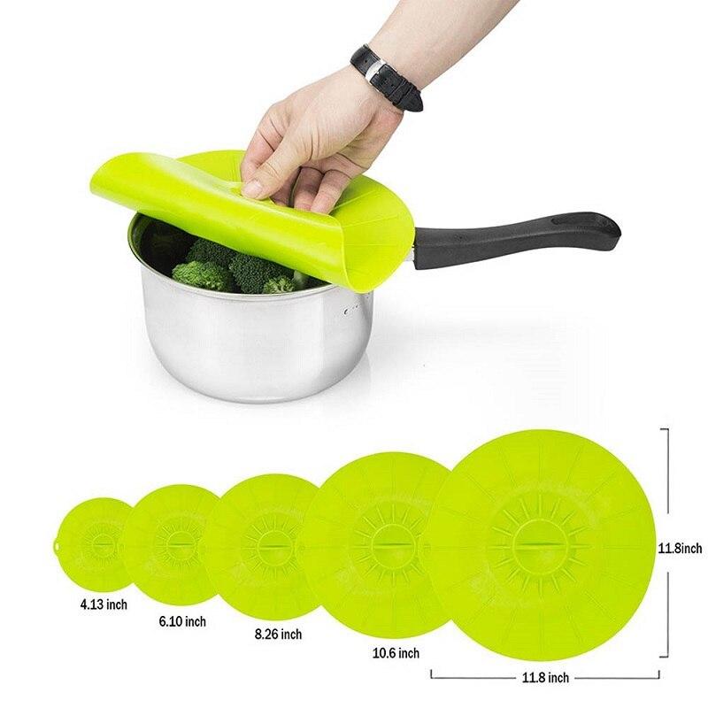Praktické 5ks / sada silikonových potravinových víček Rodinné spořiče potravin kryty Silikonové čerstvé krycí sací víčka pro nádoby na misky