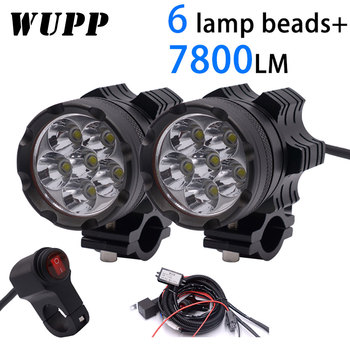 WUPP 2PCS Universal 6 Chips LED Motorcycle headlights Motos Bulb Motorbike Waterproof Fog Spot 7800LM Spotlight Super bright фото