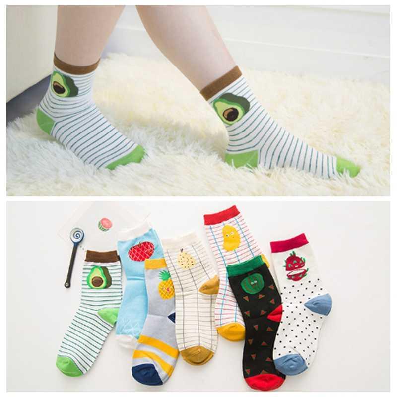 7d87ad132006 Spring Cotton Jacquard Fruit Socks Women Striped Avocado Pineapple Socks  Dot Point Funny Socks For Pregnant