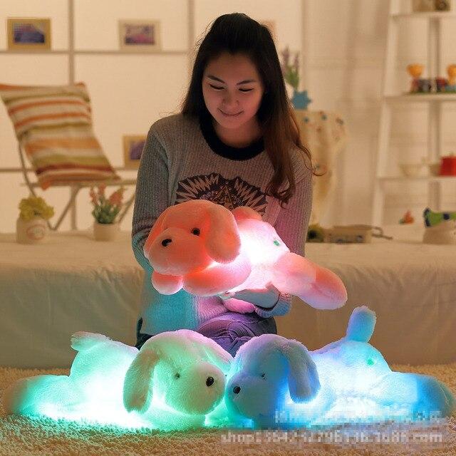 Kawaii Световой Собака Плюшевые Игрушки со Светодиодной Подсветкой 50 см Милый Плюшевый Собака Мягкие Игрушки Куклы Дети Дети Night Light игрушки