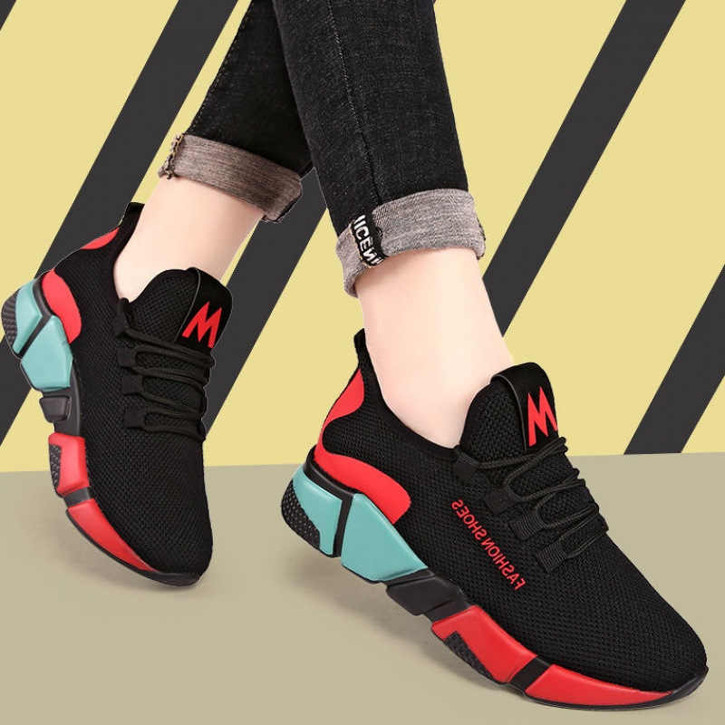 2019 Spring Women Fashion Mesh Lace-up Sneakers Vulcanized Shoes Ladies Casual Shoes Breathable Walking Mesh Flats