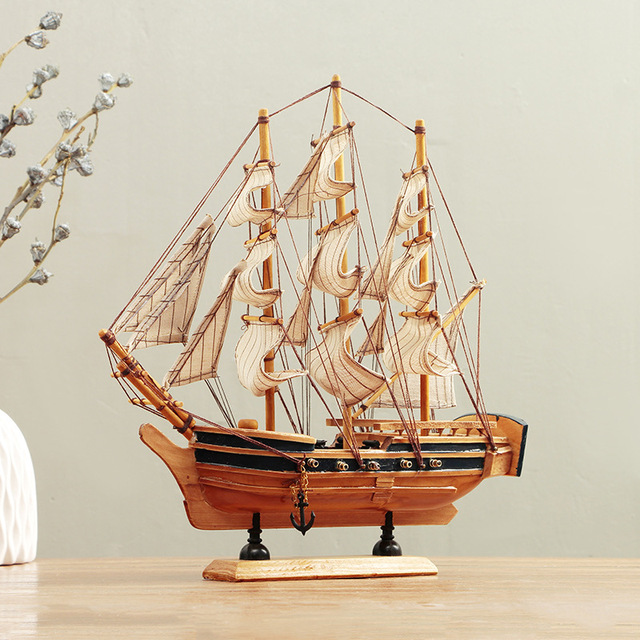 Wooden Crafts Mediterranean Style Sailing Boat Figurine Ornaments Ship Miniature Vintage Decor Home Office Decoration Gifts