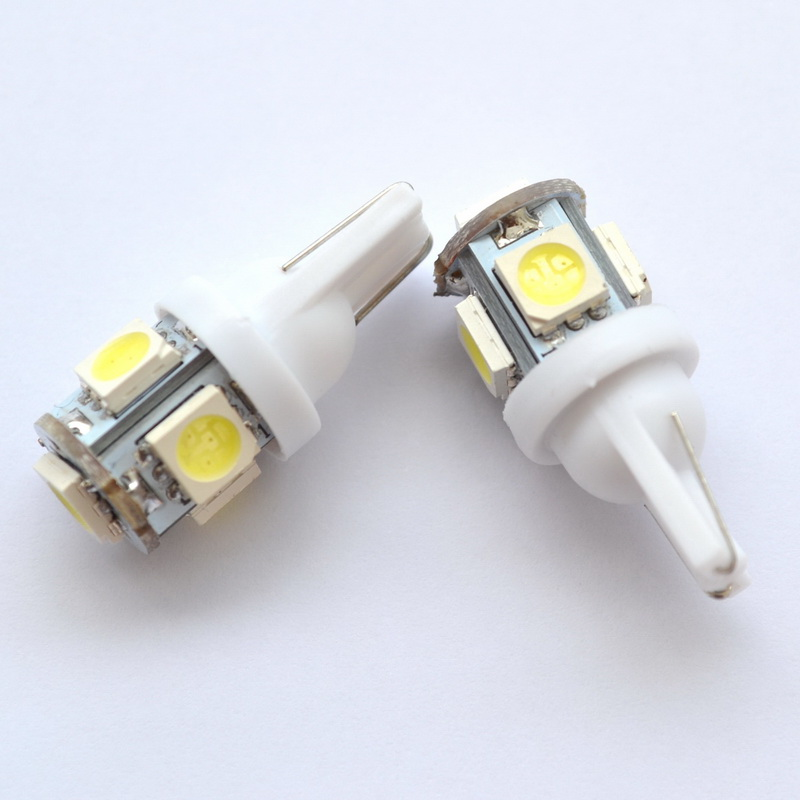 1Pcs White Red Blue Pink Yellow Green T10 Wedge 5SMD 5 SMD 5050 LED Light bulbs W5W 2825 158 192 168 194 Bulb Car Lamp DC 12V  100pcs t10 3w 360 degree wedge 5050 9 smd led bulb xenon white white warm white yellow red blue green car tail light