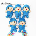 5pcs/lot Anime Cartoon Cute Pocoyo 8cm Plush Dolls with Chain Stuffed Soft Toys Kids Gift Pendants Ring AP0206