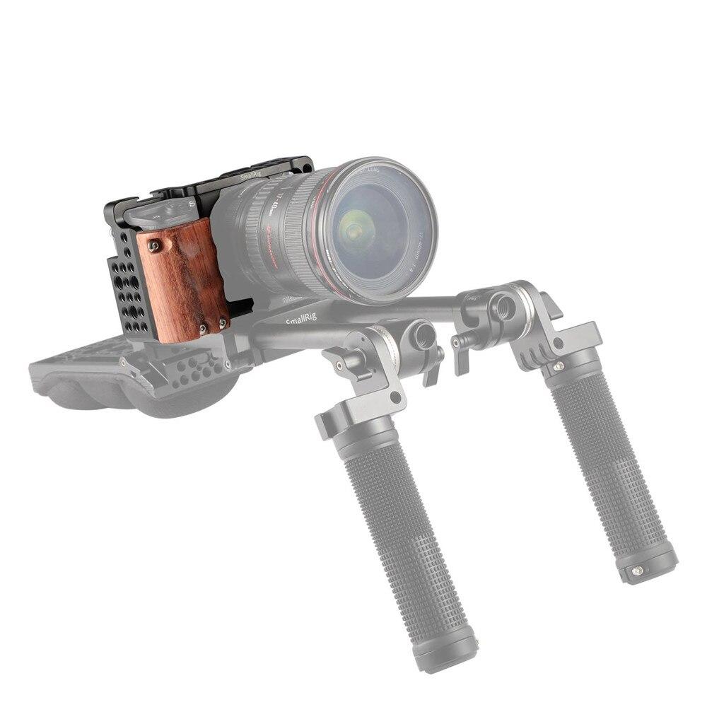 Cage de caméra SmallRig a6300 avec poignée en bois pour Sony A6000/A6300 Kit de Cage de caméscope DSLR Cage en alliage d'aluminium-2082 - 6