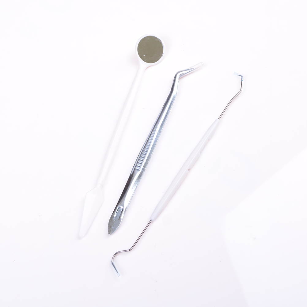 3pcs = 1set Stainless Steel Dental Instruments Mouth Mirror Probe Plier Tweezers Teeth Tooth Clean Hygiene Kit High Quality