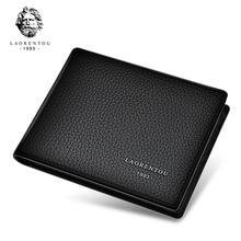 Laorentou Äkta Läder Mäns Plånbok Förarlicens Holder Vintage Casual Läder Purse Card Holders Plånböcker för män