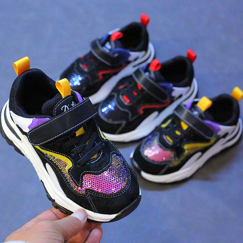 $28.67 Girls shoes 2019 spring new Korean sequins princess shoes boys old shoes breathable running
