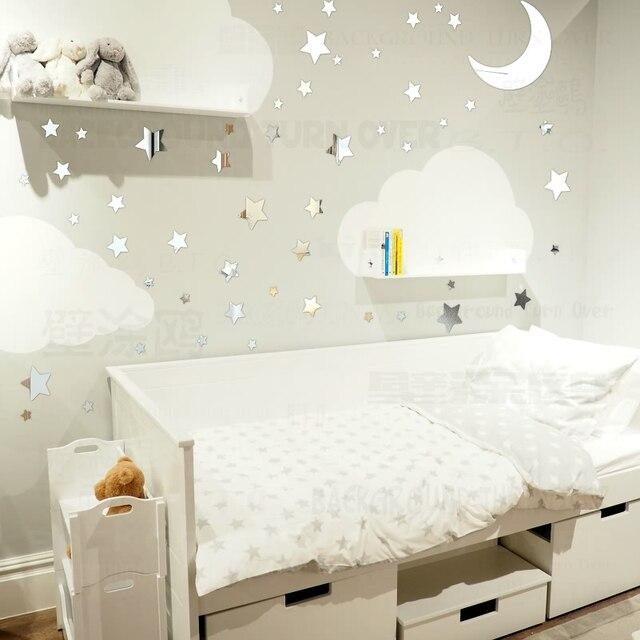 Bricolage 65 pièces Twinkle Étoiles Lune Miroir Décoratif Stickers ...