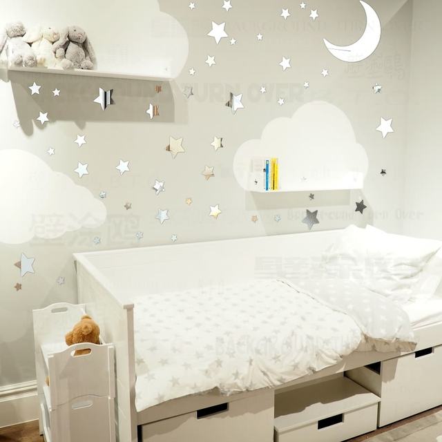 Themes For Baby Room Antique Mirrors: DIY 65pcs Twinkle Stars Moon Decorative Mirror Wall
