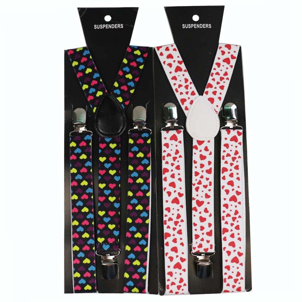 Winfox 2.5cm Wide Black White Red Heart Elastic Braces Men Women Clip On Suspenders Adjustable Clothes Pants