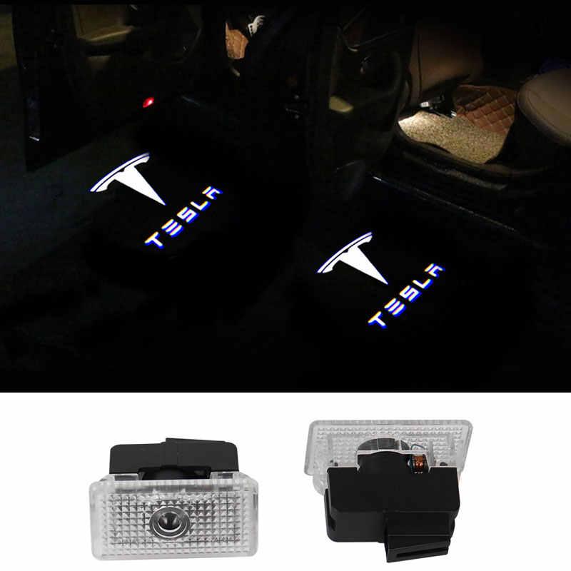 2 шт. для Tesla модель 3 Модель S модель X Автомобильный свет светодиодный лазерный проектор логотипа Добро пожаловать Свет Двери