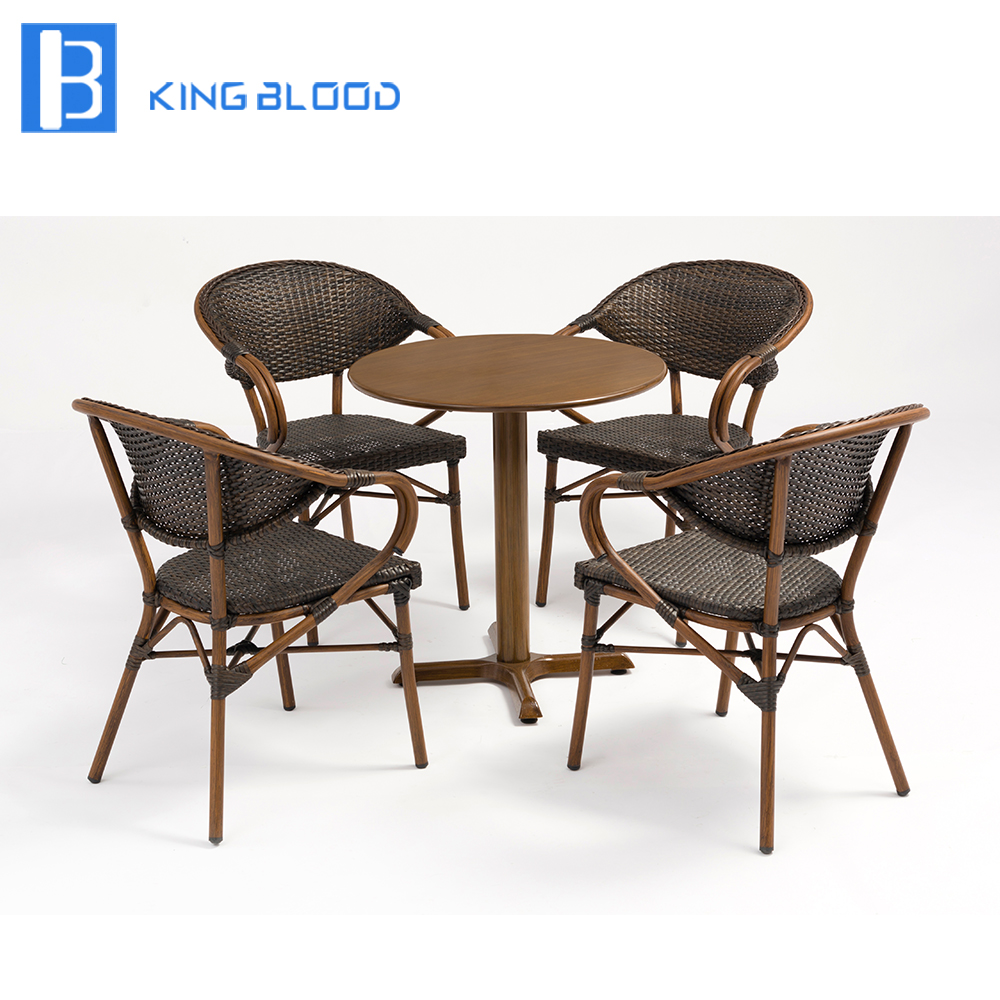 factory price PE rattan dining table and rattan chairs for garden furniture rattan square dining tables with cushion and tempered glass
