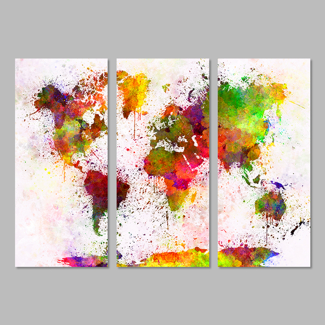 3 pcs classical europe type watercolor world map canvas painting 3 pcs classical europe type watercolor world map canvas painting wall modular picture for living room gumiabroncs Image collections