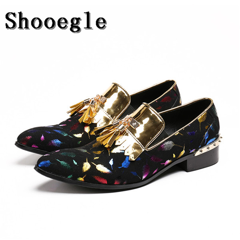 SHOOEGLE Colorful Print Pattern Men Casual Flats Shoes Pointed Toe Men Studded Loafers Tassel Dress Wedding Party ShoesSHOOEGLE Colorful Print Pattern Men Casual Flats Shoes Pointed Toe Men Studded Loafers Tassel Dress Wedding Party Shoes