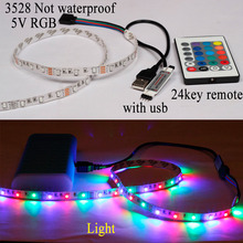 USB Cable 3528 RGB led strip light waterproof double PCB 60led/m stripe tape lamp + Remote Controller for TV Background lighting