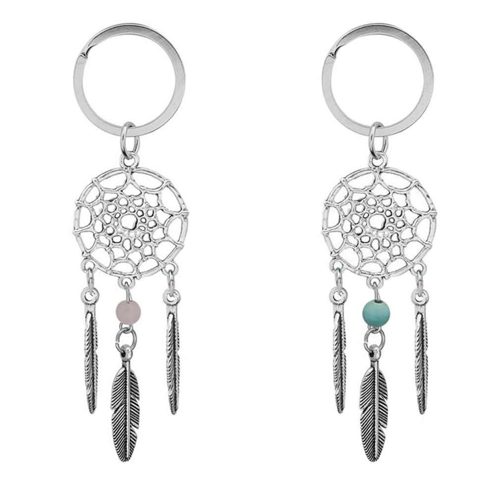Nowy tryb styl różowy czarne koraliki Dreamcatcher Feather wiatr kuranty łapacz brelok do kluczy kobiety w stylu Vintage w stylu indyjskim breloki na prezenty